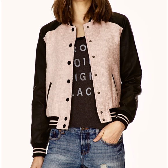 45c6245c5bc Forever 21 Jackets   Blazers - Forever 21 Faux Leather Trimmed Varsity  Jacket